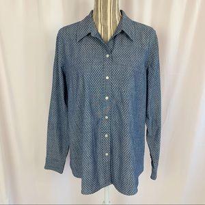 Gap Boyfriend Fit Polka Dot Button Up Shirt Sz XL